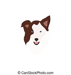border collie brown head - Abstract vector illustration of...