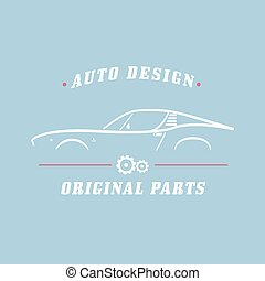 Classic Car label. Car service, original parts. Vector...