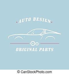 Classic Car label. Car service, original parts. Vector...
