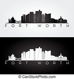?????? - Fort Worth, USA skyline and landmarks silhouette,...