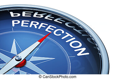 perfection - 3D rendering of a compass wit the word...
