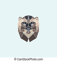 ???????? RGB - Geometric head wolverine. Abstract multicolor...