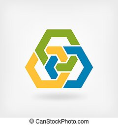 abstract tri-color interlocking hexagons illustration