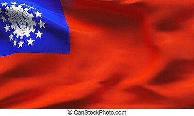 Creased MYANMAR flag in wind