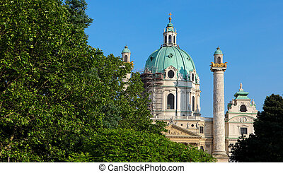 Karlskirche in Vienna, one of the most famous buildings in...