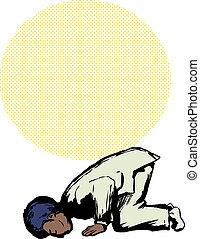 Muslim Man in Sajdah Prayer Position - Side view on Black...