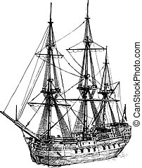 18th-century cargo ship - Vector black and white hand drawn...