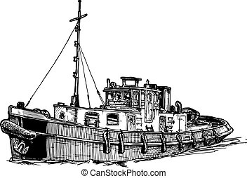 Small motor ship - Vector black and white hand drawn...