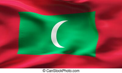 Creased MALEDIVES flag in wind - Highly detiled flag with...