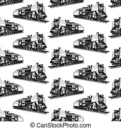 pattern with steam locomotive - Seamless pattern with steam...