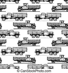 pattern with retro lorry