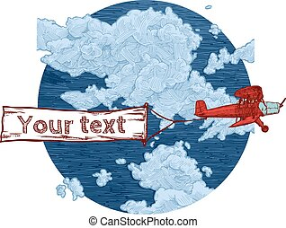 vintage red biplane with banner - Vector color hand drawn...