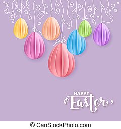Vector Happy Easter Greeting Card with Color Paper Easter...