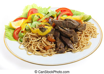 Liver and noodles with salad