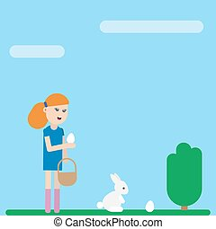 Ester holiday card. Girl is collecting eggs - Ester holiday...