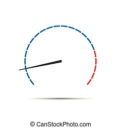 Simple vector tachometer with indicator, speedometer icon,...