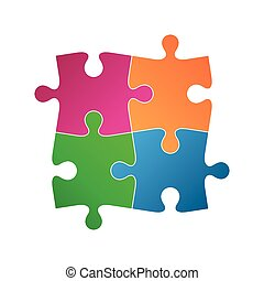Four colored puzzle pieces, abstract symbol icon isolated on a white background