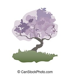 Vector silhouette of bonsai tree.