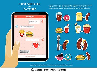 Fast food love stickers on chat application.
