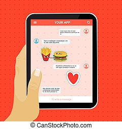 Chat mobile application with love stickers.