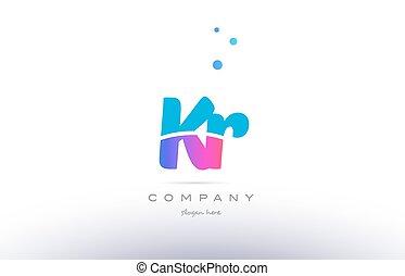 kr k r pink blue white modern alphabet letter logo icon...