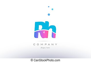 rh r h pink blue white modern alphabet letter logo icon...