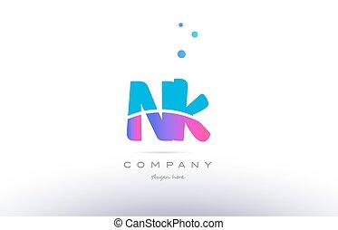 nk n k pink blue white modern alphabet letter logo icon...