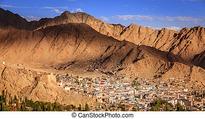 Leh, Ladakh - Bird's eye view of city of Leh in Ladakh,...