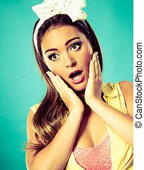Suprised shocked pin up girl. - Shock suprise emotions....