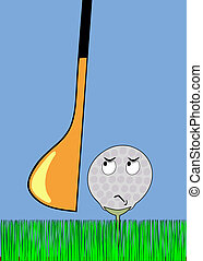 angry golfball awaiting stroke