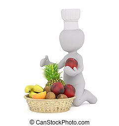 3d man with fruit 84