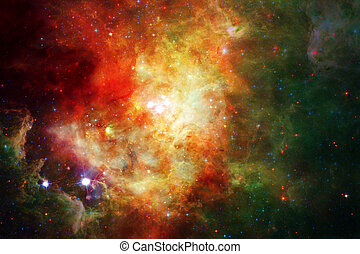 Nebula and galaxies in space. Elements of this image...