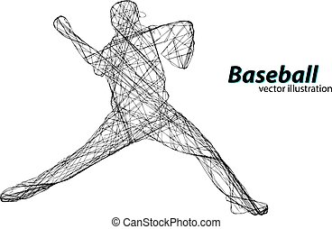 Silhouette of a baseball player. Vector illustration -...