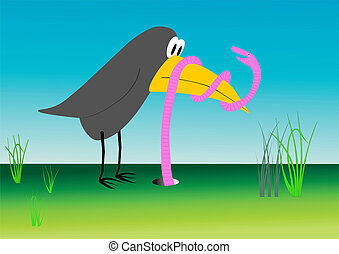 duel - vector - Cartoon drawing - bird and worm - David and...