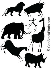 vector - various animals a la cave - vector silhouettes -...