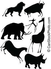 vector - various animals a la cave