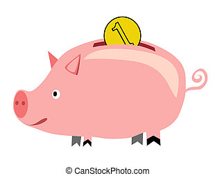 piggybank - vector - Illustration of the piggybank and coin...