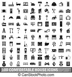 100 comfortable house icons set in simple style for any...