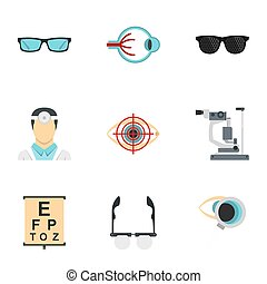 Optometry icons set, flat style - Optometry icons set. Flat...