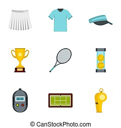 Big tennis icons set, flat style - Big tennis icons set....