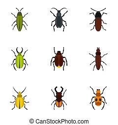 Zoology icons set, flat style - Zoology icons set. Flat...