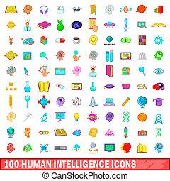 100 human intelligence icons set, cartoon style