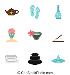Relaxing therapy icons set, flat style - Relaxing therapy...