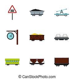 Train, railway ,underground icons set, flat style
