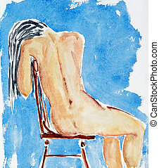 sitting girl - Hand drawing of the nude figure - watercolor,...