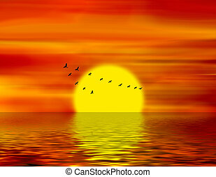 birds of passage - Abstract illustration of the sunset and...