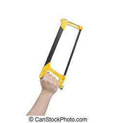 Hand Holding a Hacksaw with Clipping Path - Hand holding a...