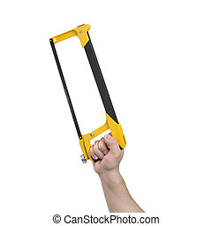 Hand Holding Hacksaw with Clipping Path - Hand holding a...