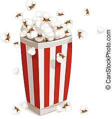 Paper cup full of popcorn