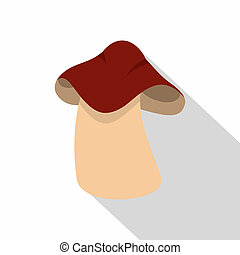 Boletus icon, flat style - Boletus icon. Flat illustration...